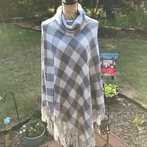 The Limited gray plaid poncho